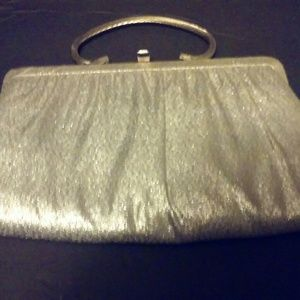 Vintage 50s Goray Silver Clutch w/ Alum Handle
